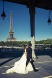 结婚在一座桥梁在巴黎 库存照片