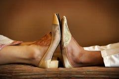 婚姻印第安的鞋子 图库摄影