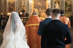 婚姻在Kazanskiy Kafedralniy Sobor里面 免版税库存图片