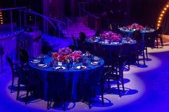 婚姻或另一顿承办宴席的事件晚餐的表集合 库存照片