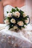婚姻白色的束玫瑰 库存图片