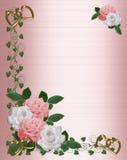 婚姻白色的边界桃红色玫瑰 库存例证