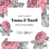 婚姻的传染媒介花卉设计邀请 与桃红色玫瑰的装饰现代布局 向量例证