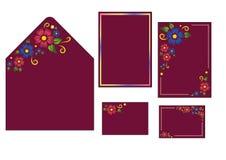 婚姻的套信封装饰、邀请卡片和名片 免版税库存照片