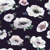 婚姻的无缝的样式白色和紫色花装饰品 图库摄影
