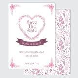 婚姻的明信片和文具纸的桃红色和紫色花爱花圈 库存图片