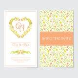 婚姻的明信片的橙色和黄色花爱花圈 库存图片