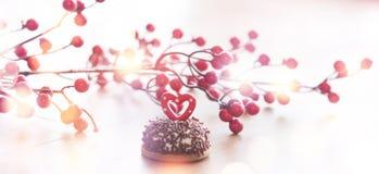 婚姻的浪漫曲奇饼,心脏背景 免版税库存照片