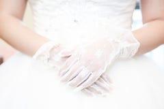 婚姻的空白鞋带手套 免版税库存图片