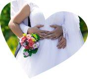 婚姻的美好的天,花束,圆环 免版税图库摄影