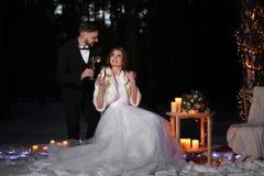 婚姻美好的冬天户外 库存照片