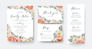 婚姻花卉邀请,谢谢, rsvp菜单与雀鳝的卡片设计 向量例证