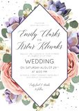 婚姻花卉邀请,邀请,保存日期卡片典雅的bo 库存例证