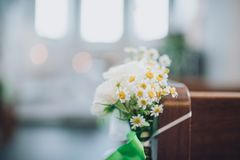 婚姻花圈的camomiles 库存照片