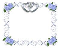 婚姻蓝色边界邀请的玫瑰 库存图片