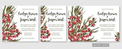 婚姻邀请邀请菜单卡片传染媒介花卉设计:beauti 库存例证