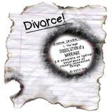 离婚定义被烧的边缘 免版税库存图片