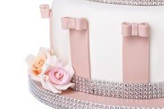 婚宴喜饼的细节,玫瑰花从糖酱的 免版税图库摄影