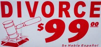 离婚广告标志 库存图片