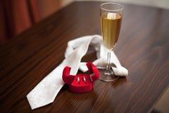 婚戒和领带 免版税库存图片