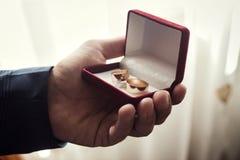 婚戒在一个美丽的婚礼箱子,婚礼,新郎` s m在 免版税库存图片