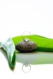 婚戒在与绿色叶子和反射的一块石头设置了 免版税库存图片