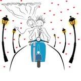 结婚的动画片摩托车 免版税图库摄影