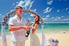 结婚的婚礼夫妇 库存照片