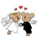 结婚的熊天使 免版税库存图片