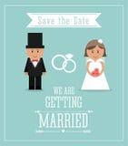 结婚的设计 婚礼象 平的例证 免版税库存照片