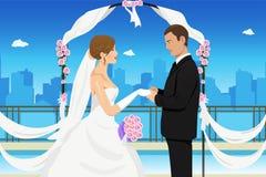 结婚的年轻夫妇 免版税库存照片
