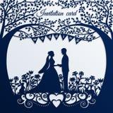 婚礼与剪影新娘和新郎的邀请卡片 免版税库存照片