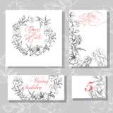 婚礼与开花的玫瑰模板传染媒介的邀请卡片 皇族释放例证