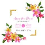 婚礼与桃红色羽毛花的邀请模板 热带花卉救球日期卡片异乎寻常的花浪漫设计 库存例证
