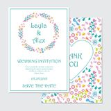 婚礼与深蓝和桃红色花花圈传染媒介设计模板的邀请卡片 库存照片