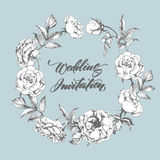 婚礼与玫瑰一个美丽的花圈的邀请卡片  也corel凹道例证向量 皇族释放例证