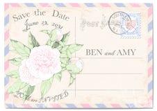 婚礼与的邀请明信片牡丹、五颜六色的框架、邮费邮票、邮票、抓痕和污点 也corel凹道例证向量 免版税库存图片