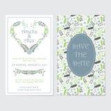 婚礼与绿松石爱花的邀请卡片缠绕 库存图片