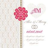 婚礼与花卉元素的邀请卡片。 免版税库存照片
