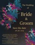 婚礼与花的邀请卡片 免版税库存图片