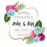 婚礼与被绘的花的邀请卡片 免版税库存照片