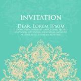 婚礼与装饰品的邀请和公告卡片在阿拉伯样式 蔓藤花纹样式 东部种族装饰品 库存图片