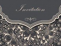 婚礼与装饰品的邀请和公告卡片在阿拉伯样式 蔓藤花纹样式 e 免版税库存图片