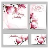 婚礼与水彩开花的木兰的邀请卡片 免版税图库摄影