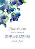 婚礼与紫罗兰色花的邀请水彩 免版税库存照片