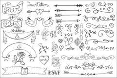 婚礼丝带,漩涡边界,装饰集合 乱画 免版税库存照片