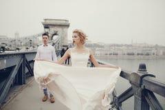 婚礼之日在布达佩斯 库存照片