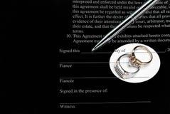 婚礼前的协议 库存图片
