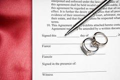 婚礼前的协议 免版税库存图片