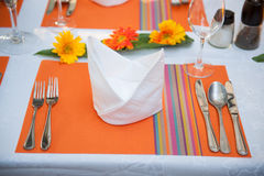 婚礼和宴会桌 免版税库存图片